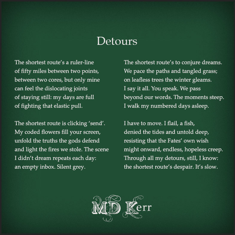 Text of the poem on a dark green background
